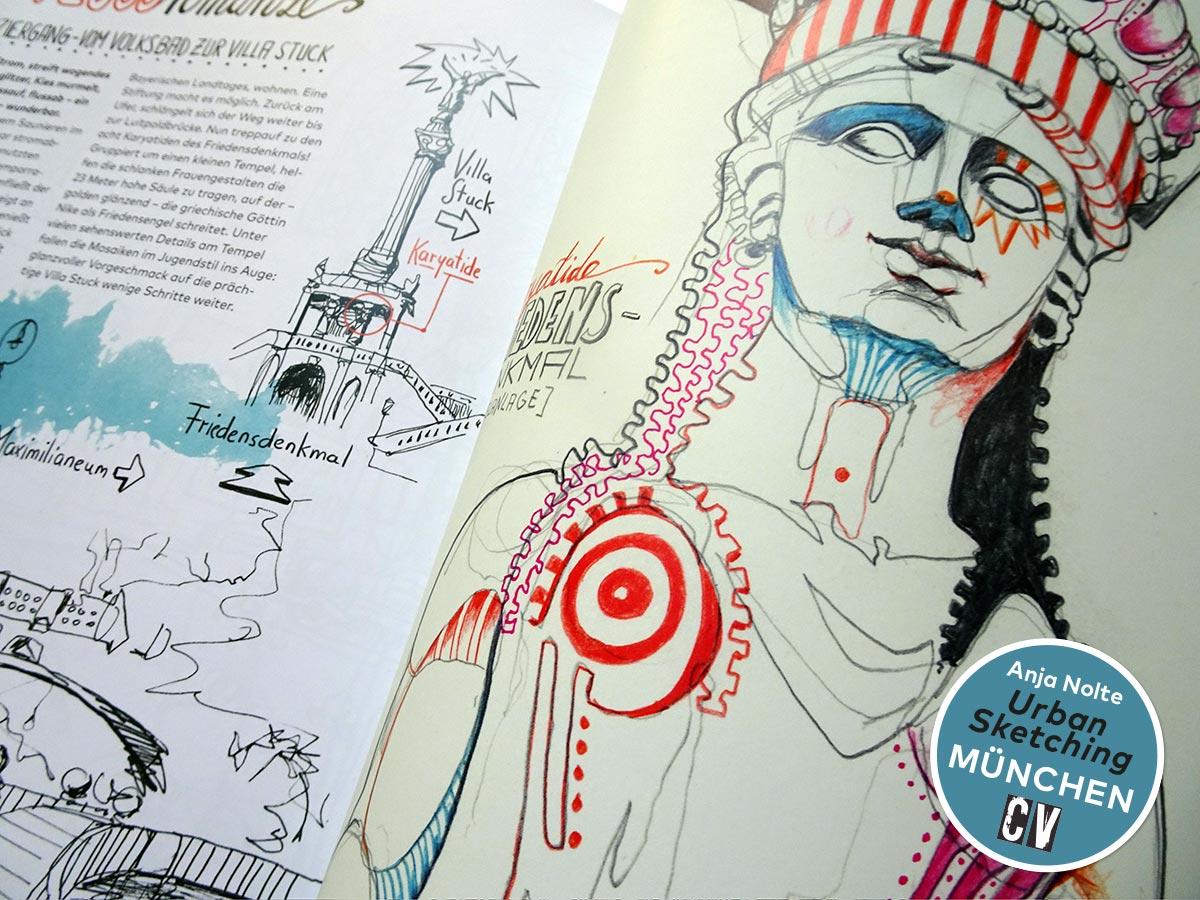 Isarspaziergang – Karyatide am Friedensdenkmal in München, Zeichnung aus dem Buch Urban Sketching München von Anja Nolte, Christophorus Verlag © Anja Nolte www.anjanolte.com