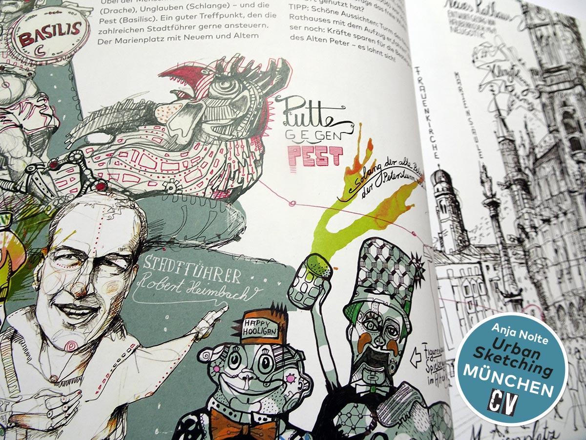 Basilisc, Stadtführer Robert Heimbach, Detailansicht / Zeichnungen aus dem Buch Urban Sketching München von Anja Nolte, erschienen bei Christophorus Verlag © Anja Nolte www.anjanolte.com