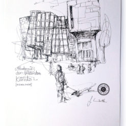 Zeichnung Akademie der bildenden Künste in einem Strich
