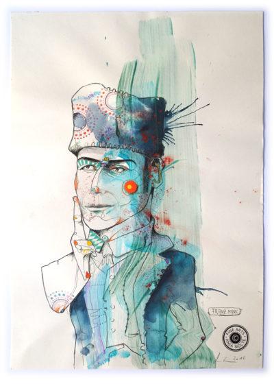 Porträt Zeichnung Franz Marc, Blauer Reiter