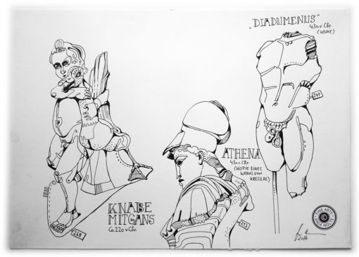 Glyptothek Zeichnung der Skulpturen Athina, Knabe mit Gans und Diadumenus