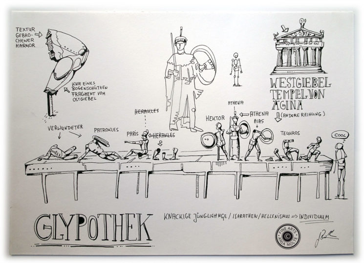 Zeichnug Tempelfries in der Glyptothek München