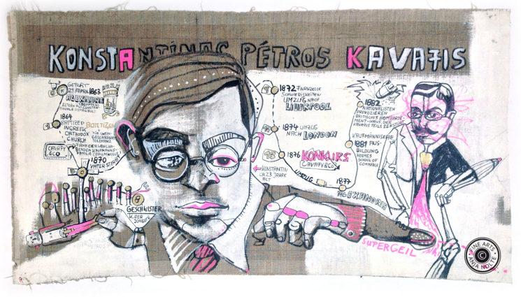 Detail aus dem Lebenslauf des Dichters Konstantinos Kaváfis. Original aus dem Buch Kaváfis / IM VERBORGENEN (Seite 115 ff.). 93,5 x 51 cm.