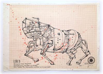 """Detail aus """"Schach"""". Original aus dem Buch Kaváfis / IM VERBORGENEN (Seite 40-41). 42 x 92,7 cm."""