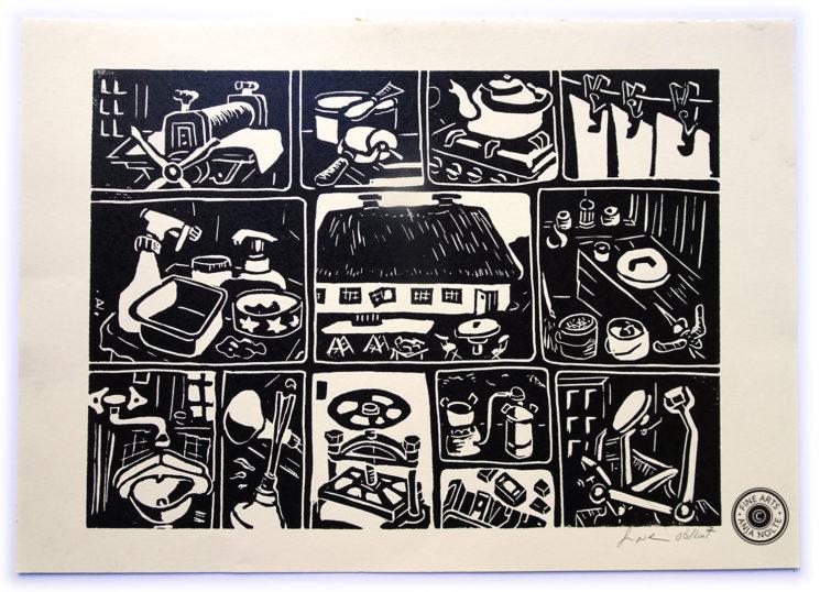 Linoldruck Darstellung Druckprozesse