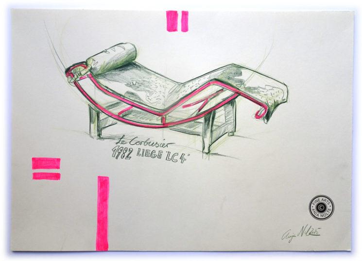 Zeichnung Le Corbusier Liege in Pinakothek der Moderne