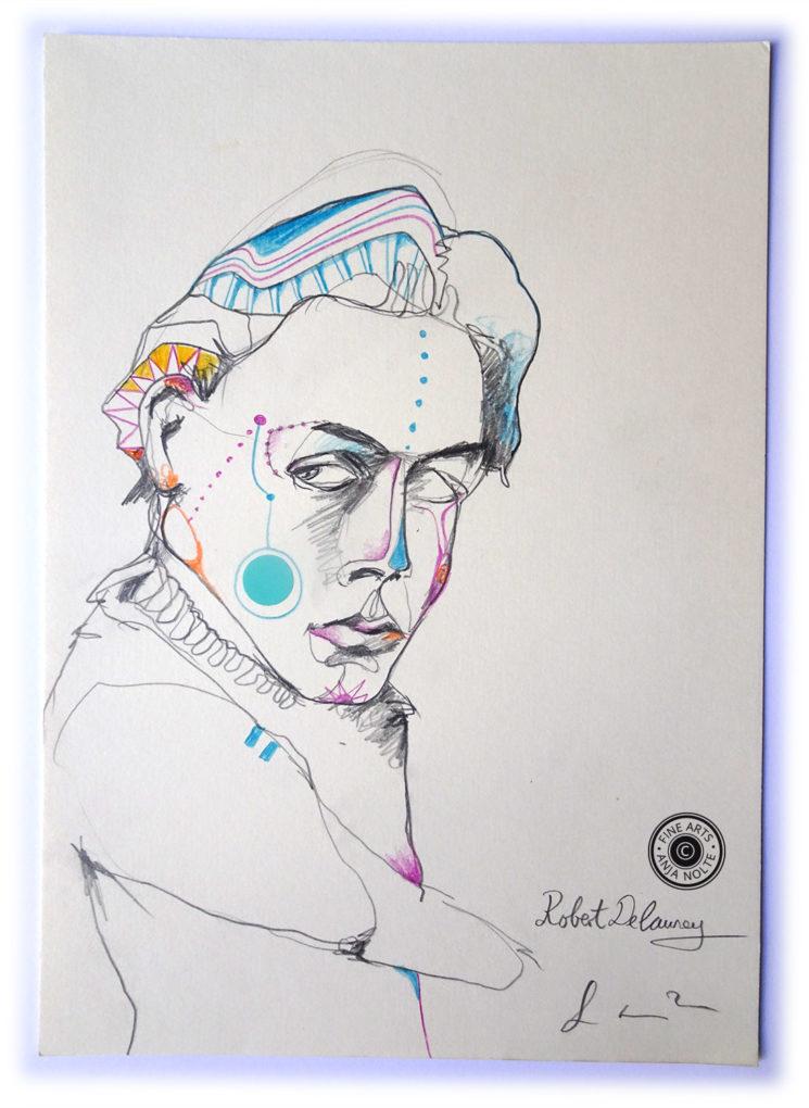 Zeichnung Porträt Robert Delauney