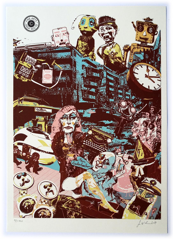 Siebdruck zu Friedrich Dürrenmatt Besuch der alten Dame Auflage 100 Stück © Anja Nolte www.anjanolte.com