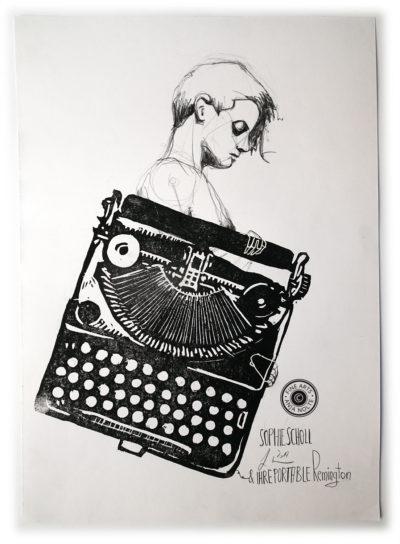 Zeichnung der Sophie Scholl auf Linoldruck Ihrer Portable Remington