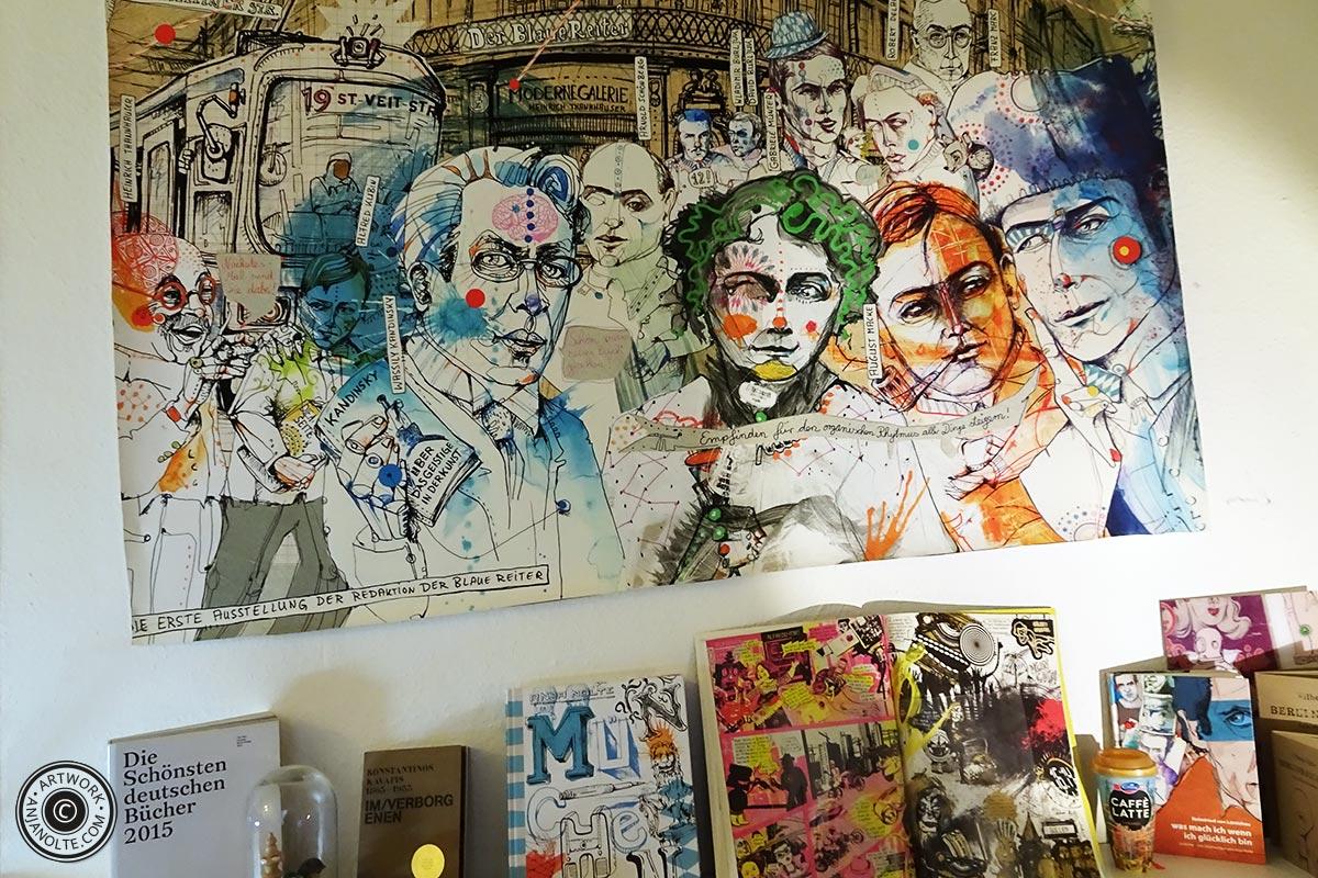 Poster Blauer Reiter Award für Urban Sketching München*, Blauer Reiter durch Creative Quarterly © www.anjanolte.com