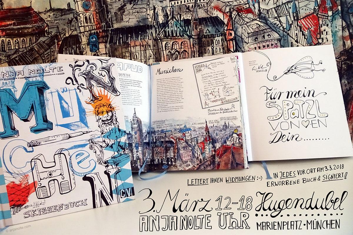 Buchpräsentation Urban Sketching München Anja Nolte bei Hgendubel am Münchner Marienplatz
