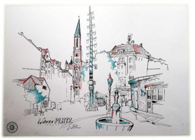 Wiener Platz in München Zeichnung v. Anja Nolte