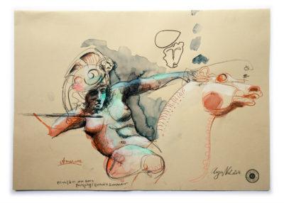 Zeichnung Amazone Skulptur Franz von Stuck