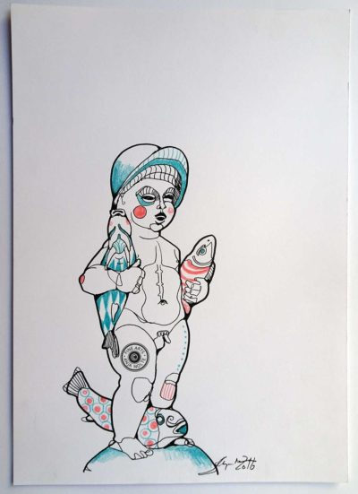 Brunnenfigur Wiener Platz, München Zeichnung Anja Nolte