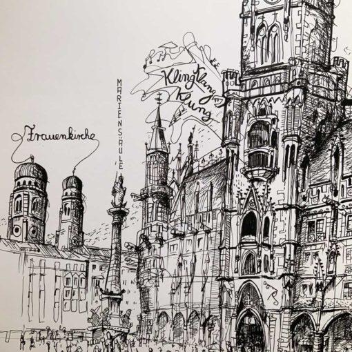 Zeichnung Marienplatz